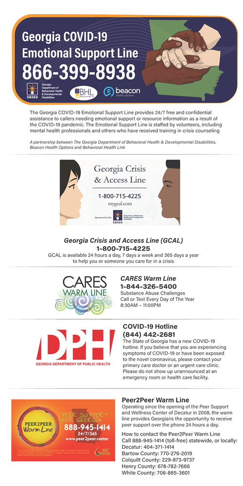 GA Covid19 emotional support line and other resources flyer